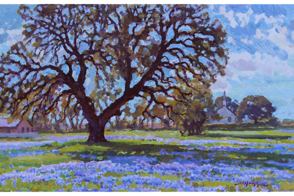 """Live Oak, Brady, Texas"" <br />8x12"" oil - available - #1610 <br />"