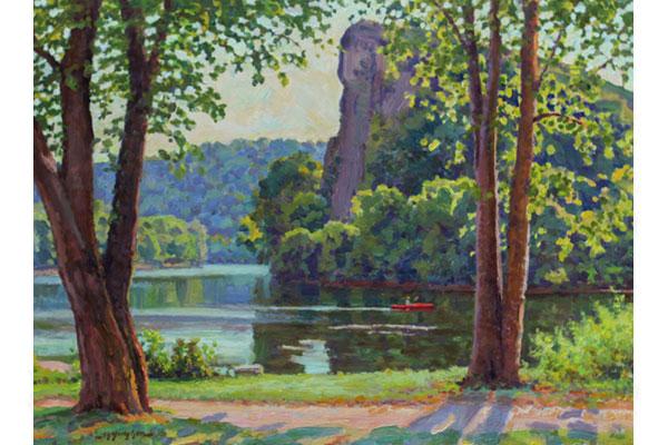 """Kayak at Pembroke"" <br /> 12x16"" oil - sold - #1713 <br /> On the New River in southwest Virginia."