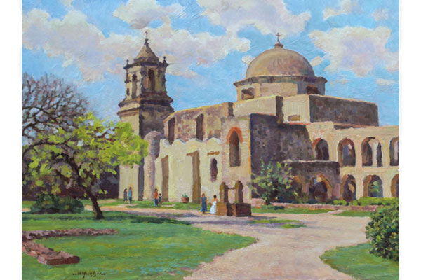 """Mission San Jose Church"" <br /> 12x16"" oil - available - #1710 <br /> One of the early mission churches along the San Antonio river in Texas (near the Alamo mission).  This painting begun on location in the month of March."