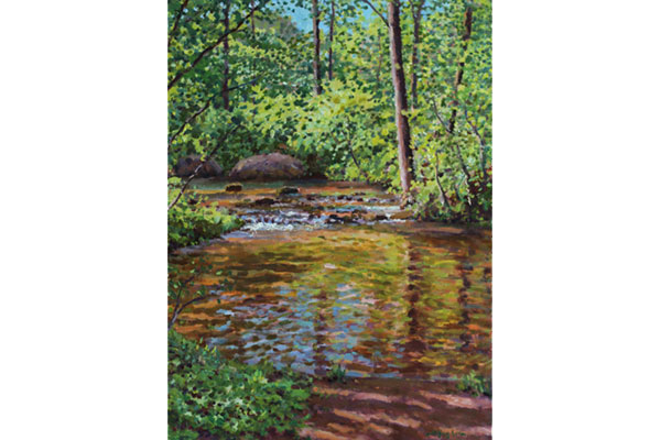 """Spring Water"" <br /> 16x12"" oil - available - #1707 <br /> A May perspective on the Hardware River just below my studio."