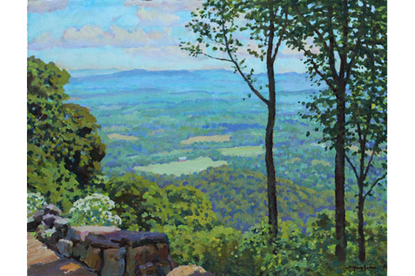 """Summer View"" <br /> 12x16"" oil - sold - #1721 <br /> The overlook from Hwy 250 above Afton."