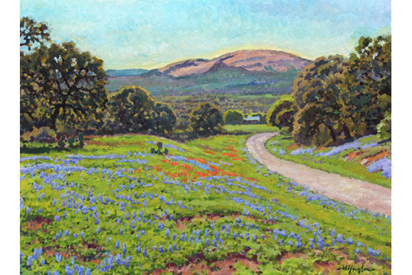 """Enchanted Rock in Springtime"" <br /> 12x16"" oil - sold - #1604 <br /> Enchanted Rock is a beloved landmark, a pink marble dome, in central Texas."