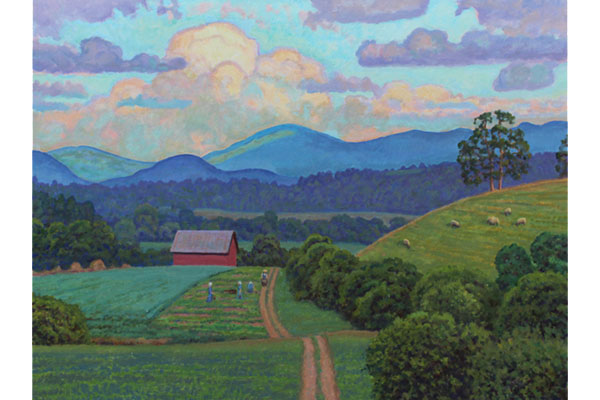 """""""Southwest Virginia Sundown"""" <br /> 30x40"""" oil - available - #1628<br /> This painting inspired by the landscapes around Marion, Virginia on a summer evening.  I added some Amish farmers, from sketches made in a nearby community."""